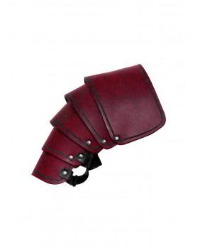 Protége épaule en cuir rouge
