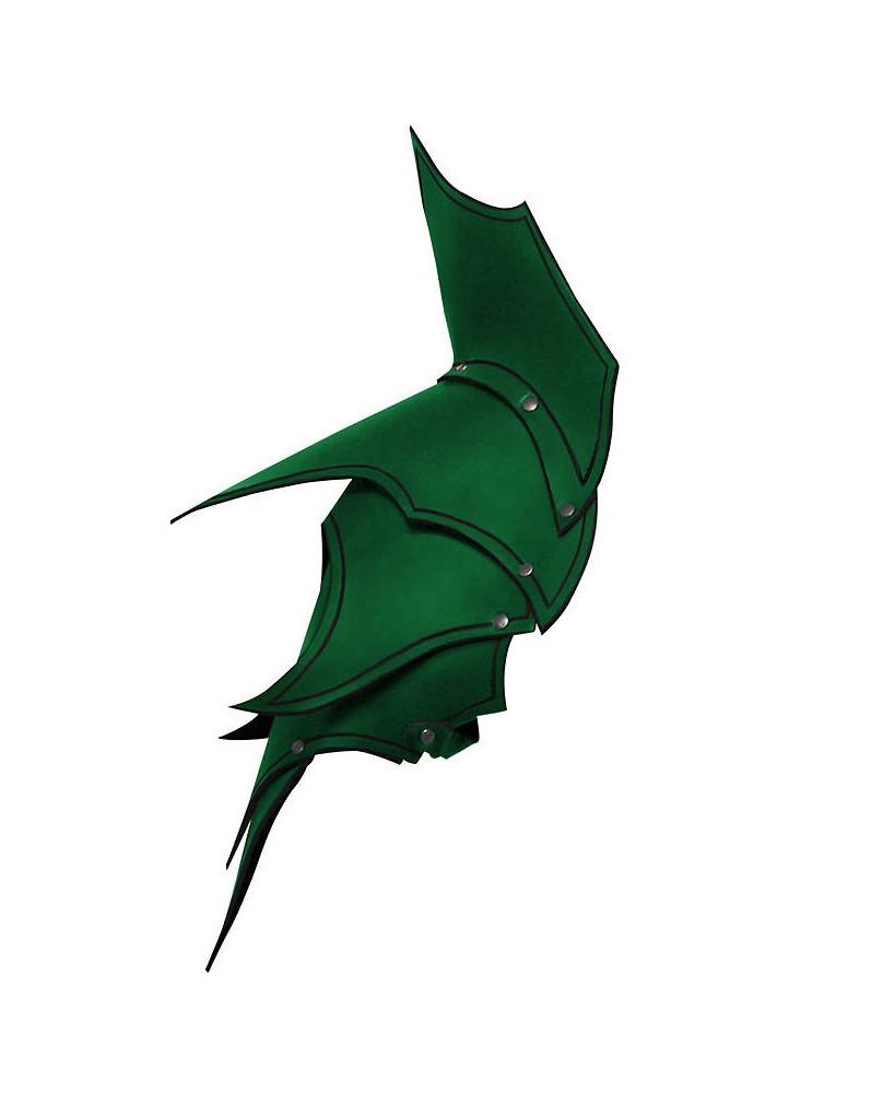 Epaulières Dunkelelf elfe noir en cuir vert