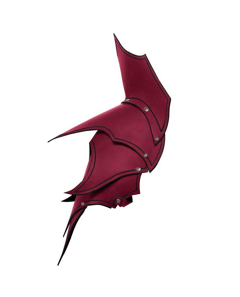 Epaulières Dunkelelf elfe noir en cuir rouge