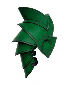 Epaulières Elven LARP en cuir vert