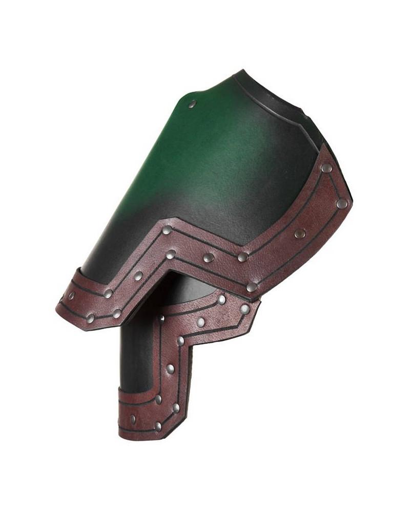 Protection d'épaules en cuir vert et marron