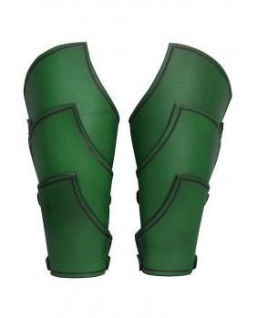 Brassards en cuir vert guerrier elfe