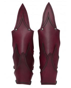 Brassards elfe noir cuir rouge