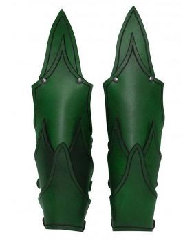 Brassards elfe noir cuir vert