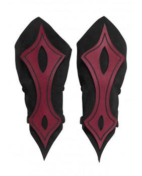 Brassards archer en cuir noir et rouge