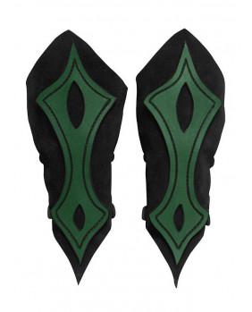 Brassards archer en cuir noir et vert