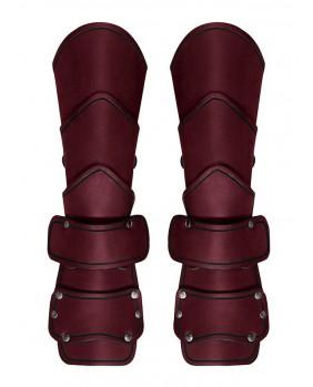 Brassards médiévals cuir rouge