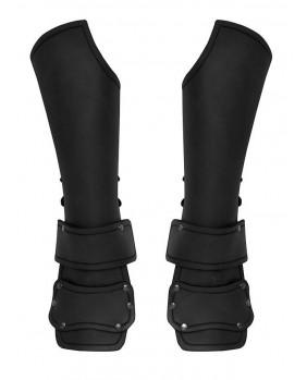Brassards en cuir noir avec protection des mains