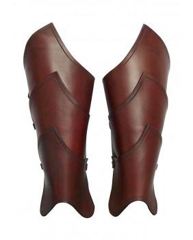 Jambières en cuir marron guerrier elfe