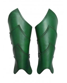 Jambières en cuir vert guerrier elfe