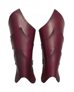 Jambières en cuir rouge guerrier elfe