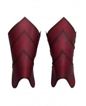 Jambières cavalier dragon en cuir rouge