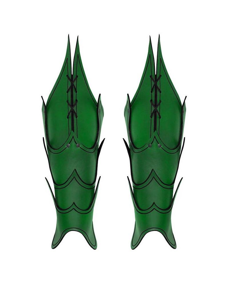 Jambières vertes Démon en cuir