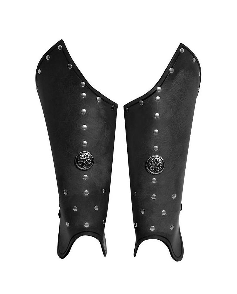 Jambières prêtre de guerre en cuir noir