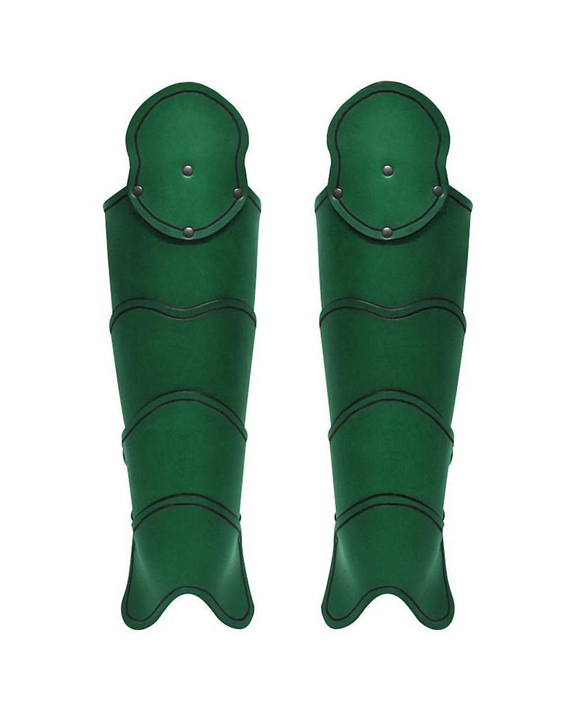 Jambiéres médiévales en cuir vert