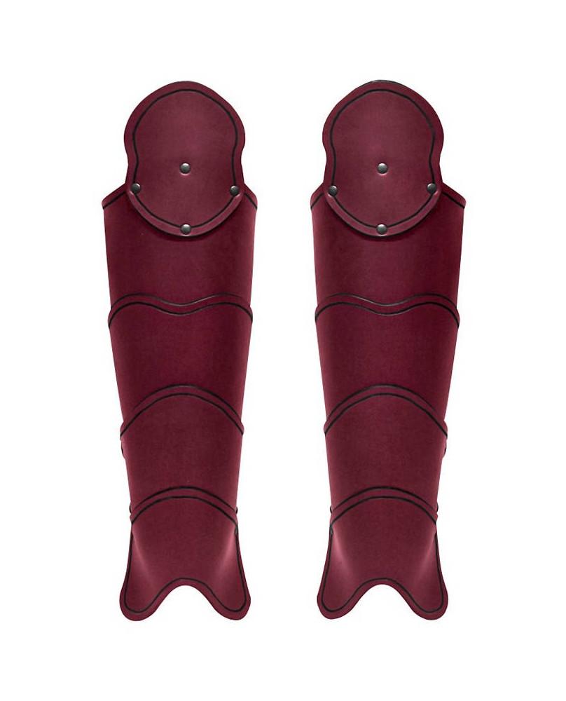 Jambiéres médiévales en cuir rouge