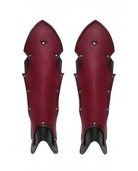 Jambières gothiques en cuir rouge