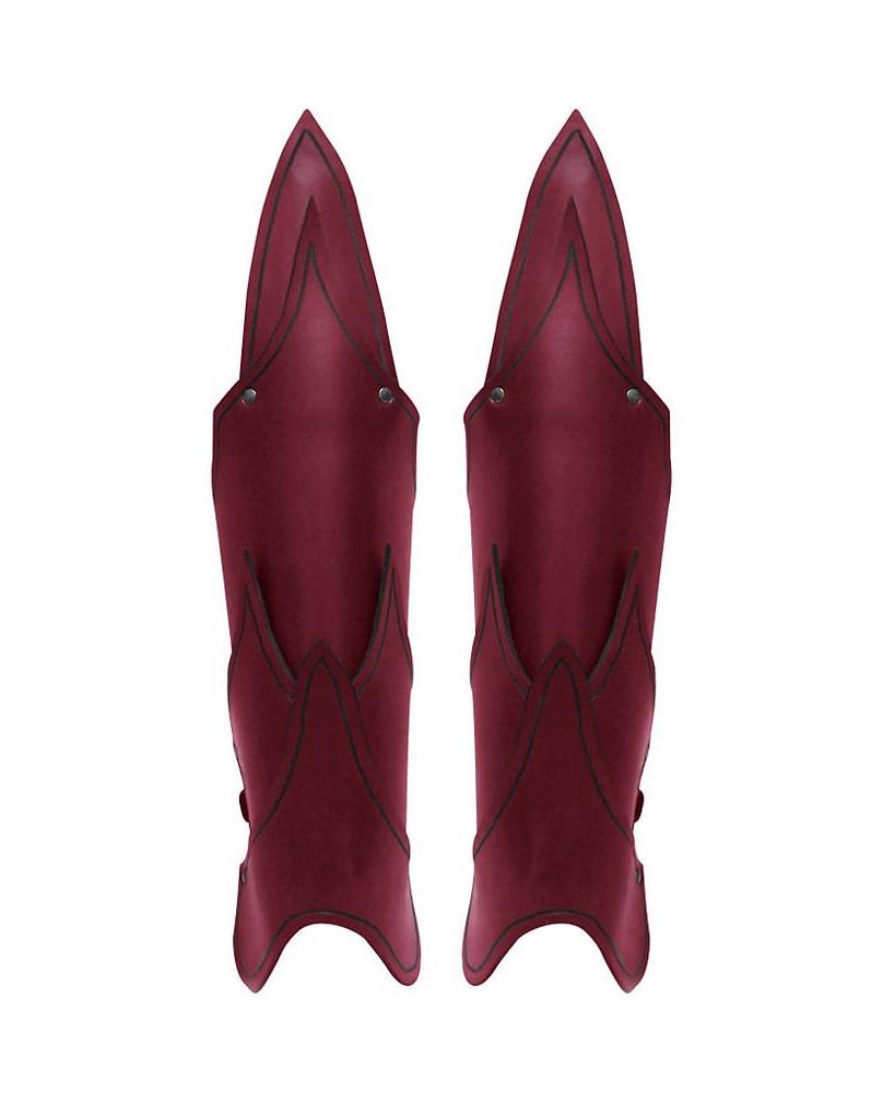 Jambières elfe noir cuir rouge