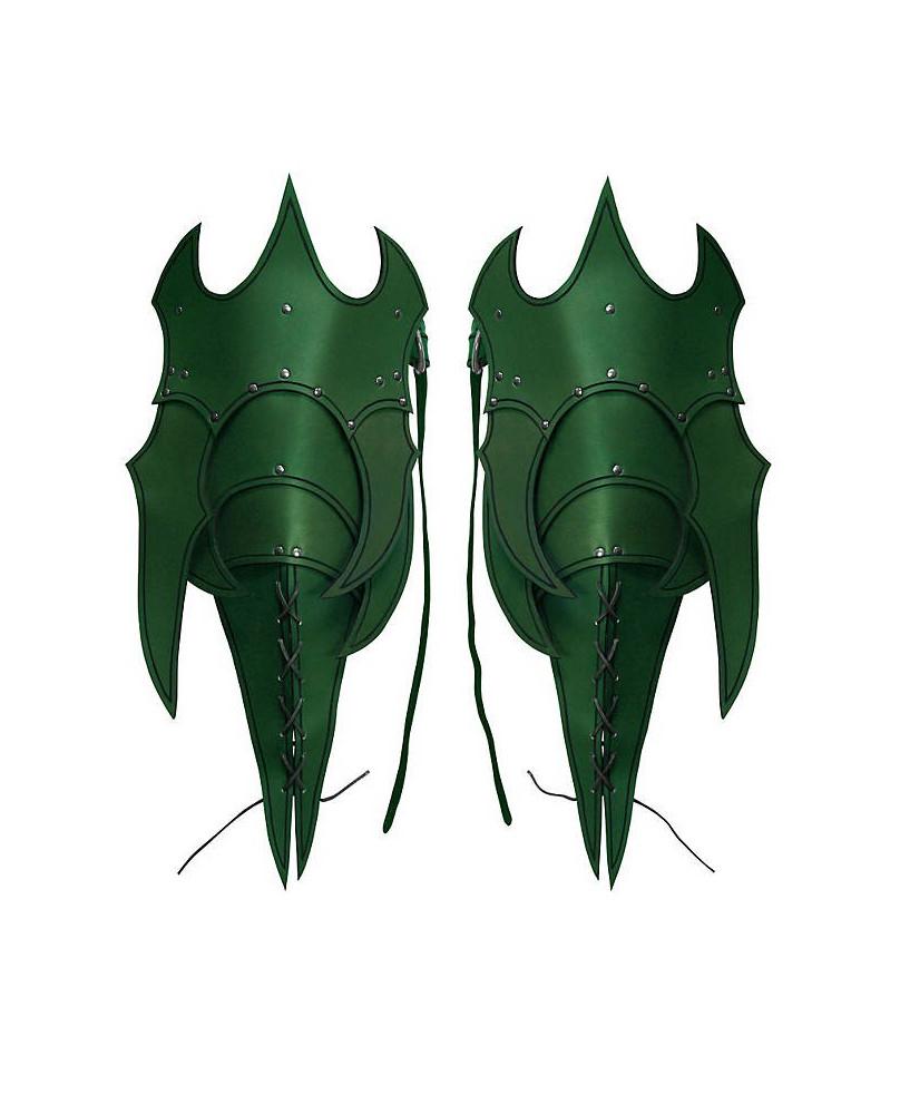 Poches de jambe en cuir vert