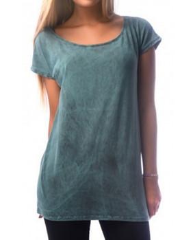 T-shirt look vintage en coton bleu