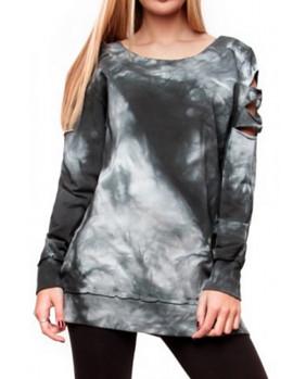 Sweat-shirt vintage femme lacération sur les épaules