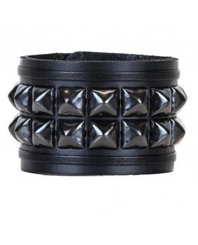 Bracelet cuir noir et studs noirs