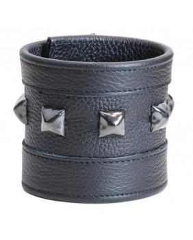 Bracelet Rock cuir noir studs noirs