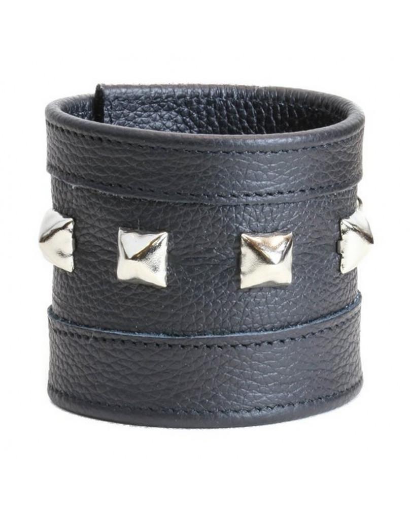 Bracelet Rock cuir noir studs argents