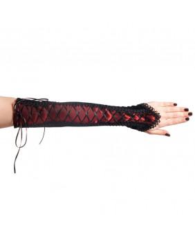 Mitaine velours noir et taffeta rouge Sinister