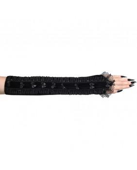 Mitaines gothiques noires avec noeuds