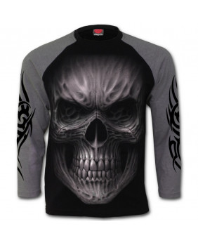 Tee shirt crâne tribal bicolor Death Rage