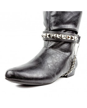 Tour de botte 01 rangs de studs argents