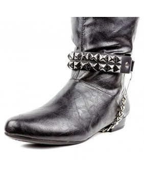 Tour de botte 02 rangs de studs noirs