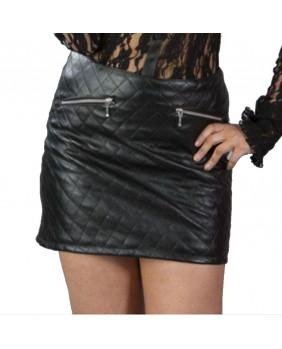 Mini jupe gothique rock matelassée noire Naomi