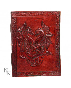 Grimoire en cuir rouge Double Dragon