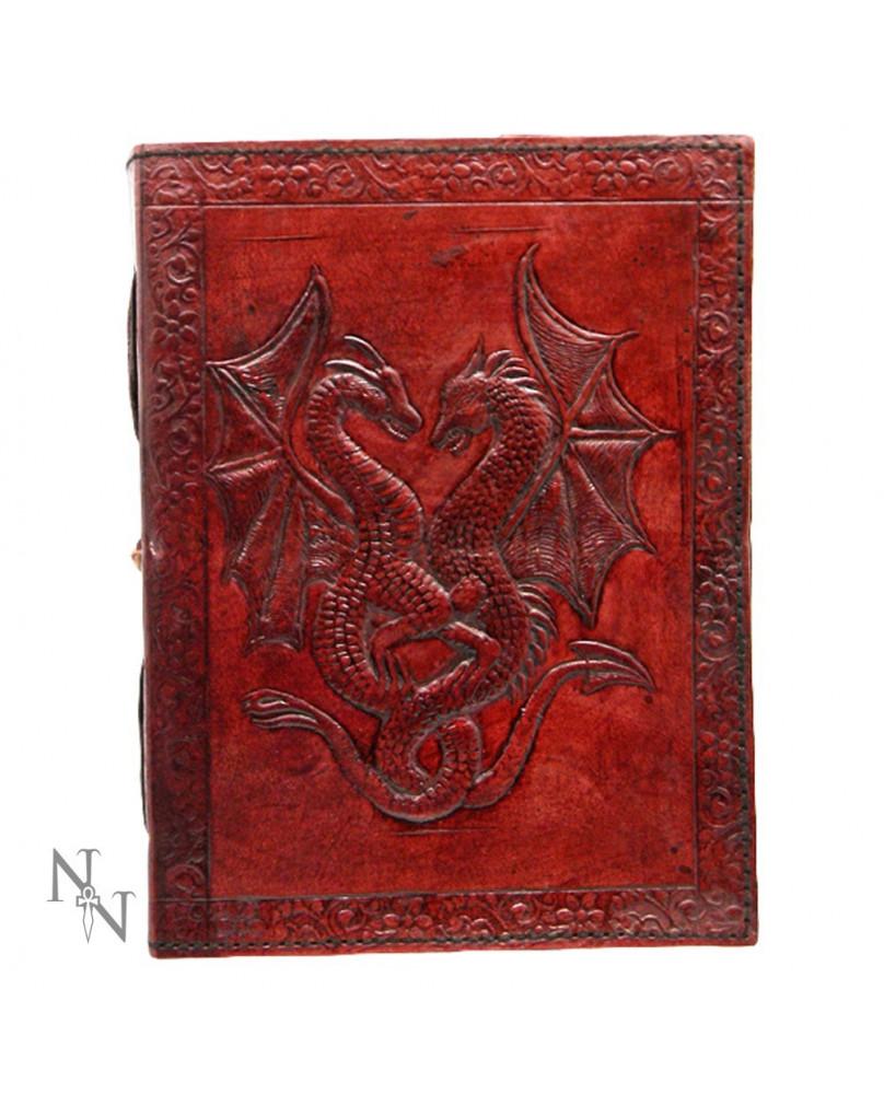 Grimoire en cuir rouge Double Dragon