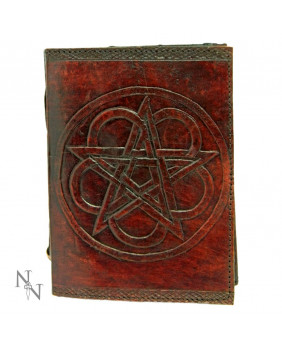 Grimoire en cuir rouge Pentacle
