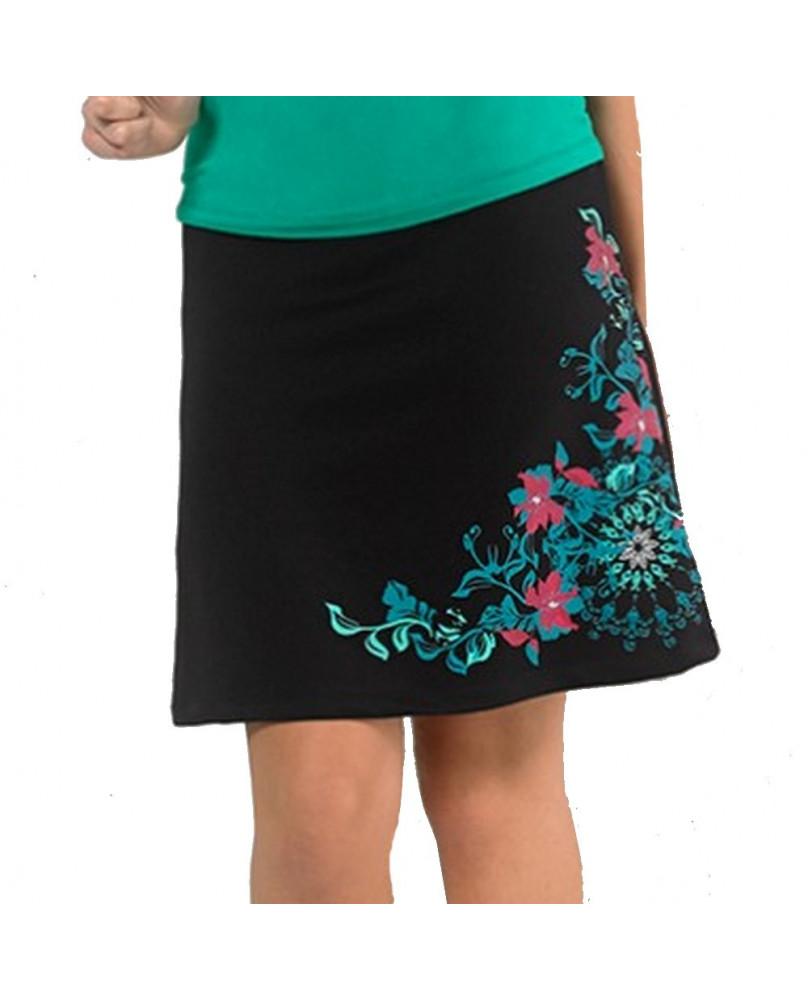 Jupe sixties noire à fleurs
