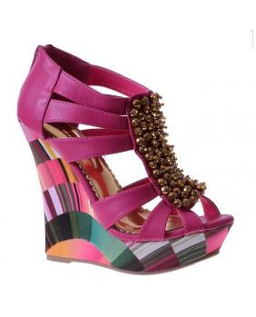 sandales pop rock fushias et multicolores à talons hauts