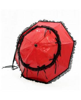 Ombrelle noire à rubans roses