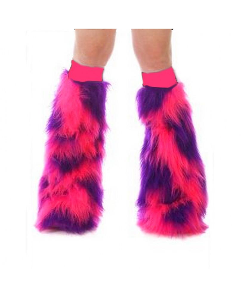 Leg warmer fluffy rose et violet