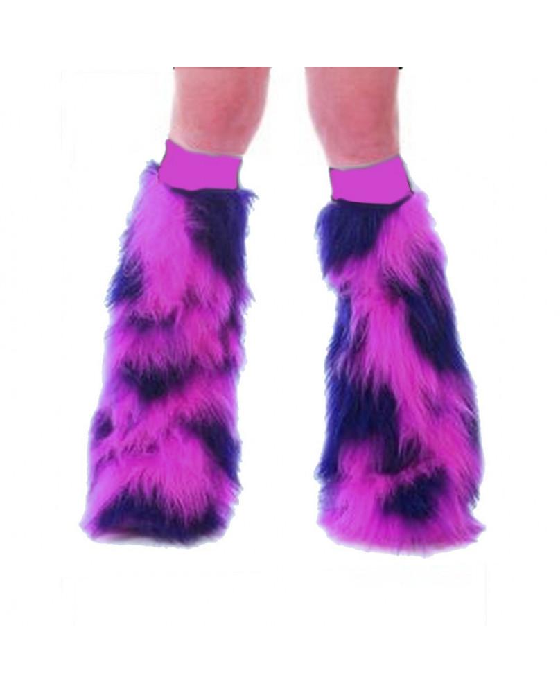 Leg warmer fluffy rose et bleu