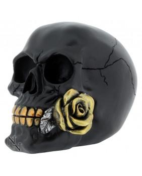 Figurine crâne noir avec rose
