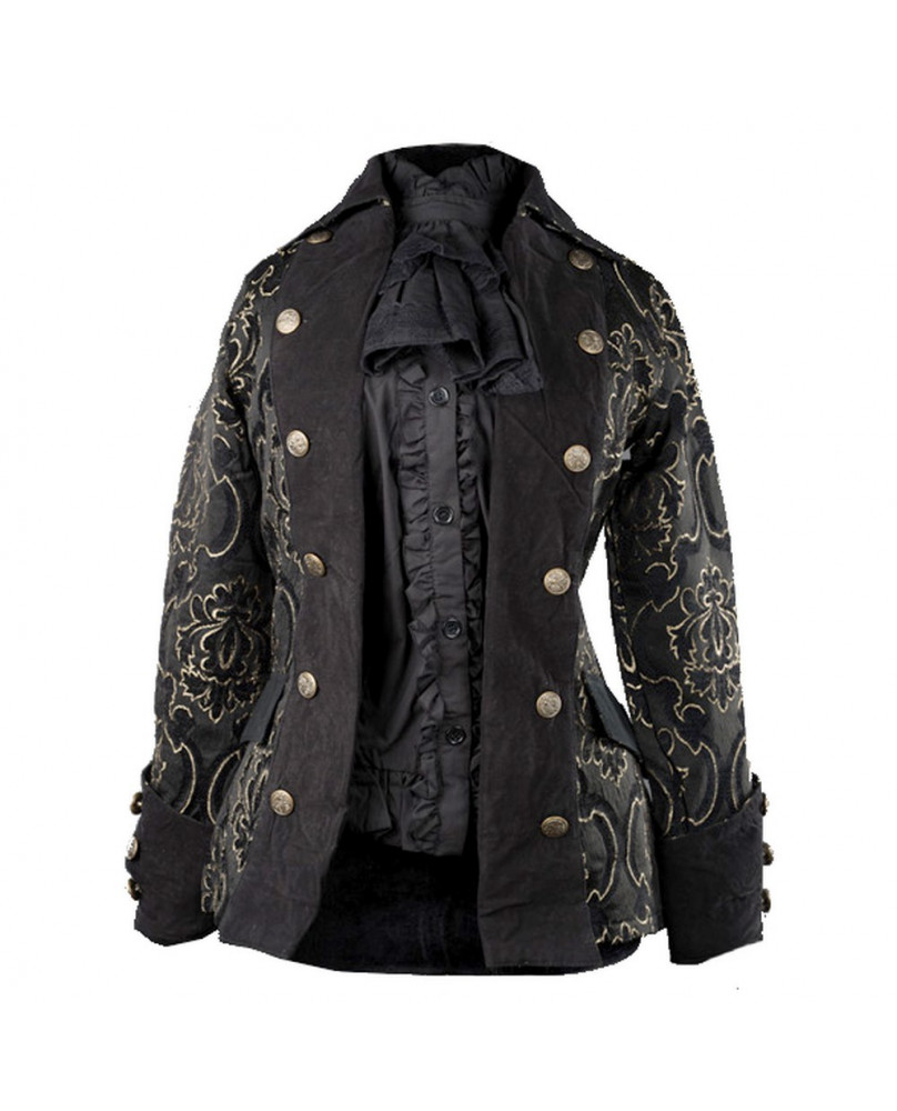 Veste victorienne pirate noire et dorée