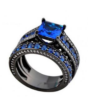 Duo de bagues noires avec pierres bleues