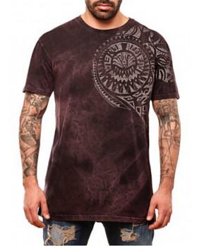 T-Shirt lie de vin tribal homme