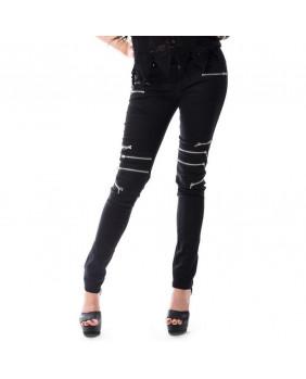 Pantalon gothique punk noir à fermeture éclair