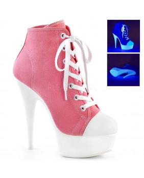 Bottines Fashion rock blanches et roses à talons hauts Pleaser DELIGHT-600SK-02
