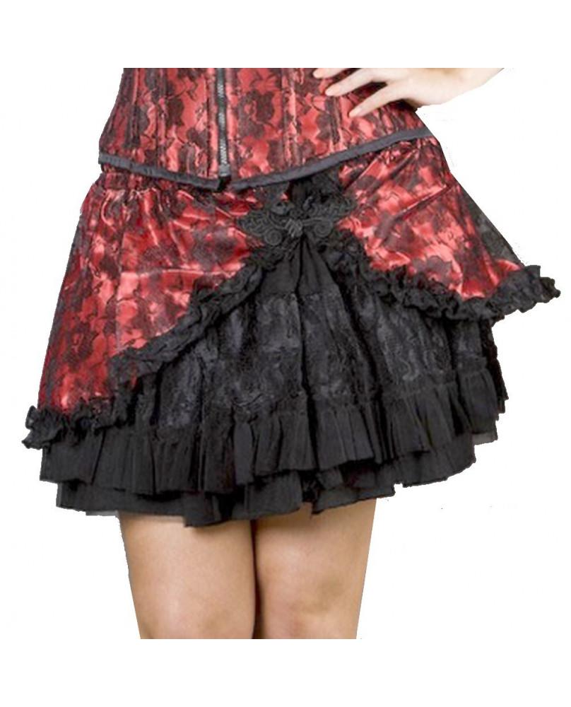 Jupe gothique rouge avec dentelle Candy