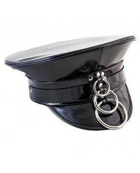 Casquette police cyber en vinyle et anneaux